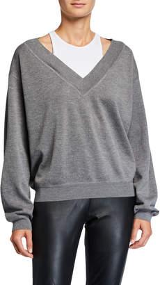 Alexander Wang Bi-Layer V-Neck Wool Sweater