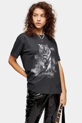 Topshop Womens Petite Charcoal Night Grey Tiger T-Shirt - Charcoal