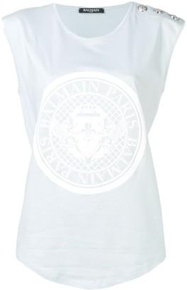 Balmain medallion print tank top