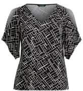 Ralph Lauren Handkerchief Sleeve Jersey Top Black/Cream 3X