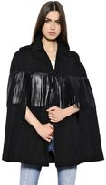 Saint Laurent Cotton Gabardine Cape W/ Leather Fringe