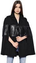 Saint Laurent Cotton Gabardine Cape W/ Leather Fringe