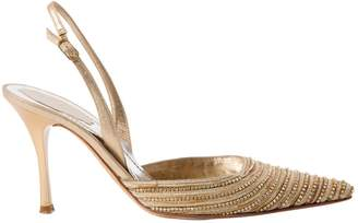 Rene Caovilla Gold Leather Heels