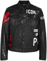 DSQUARED2 Black Printed Waxed Denim Jacket