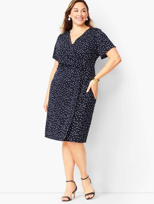 Talbots Plus Size Knit Jersey Faux-Wrap Dress - Dot Print