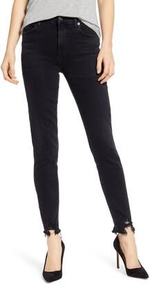 A Gold E AGOLDE Sophie High Waist Destroyed Hem Ankle Skinny Jeans