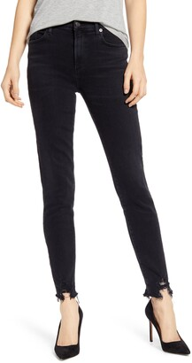 AGOLDE Sophie High Waist Destroyed Hem Ankle Skinny Jeans