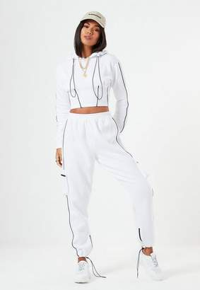 Missguided Lissy Roddy X White Co Ord Contrast Pipe Pocket Joggers