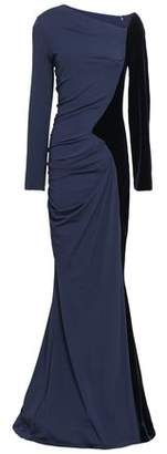 Talbot Runhof Ruched Paneled Velvet And Stretch-crepe Gown