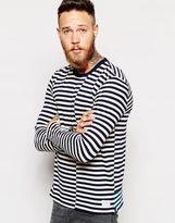 Paul Smith Jeans T-shirt With Broken Breton Stripe Long Sleeves - Blue