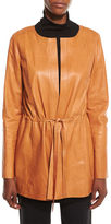 Lafayette 148 New York Carmondy Drawstring Leather Jacket