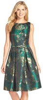 Eliza J Metallic Jacquard Fit & Flare Dress (Regular & Petite)