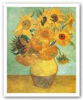 "McGaw Graphics Sunflowers on Blue, 1888 by Vincent Van Gogh 26""x18.75"" Art Print Poster"