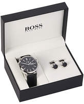 HUGO BOSS 1570054 Men's Day Date Leather Strap Watch and Cufflinks Gift Set, Black