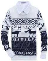 EGELBEL Men's Retro Christmas Deer Pattern Knitted Pullover Sweater