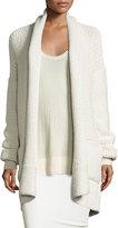 Urban Zen Knit Cashmere Shawl-Collar Cardigan, White Smoke
