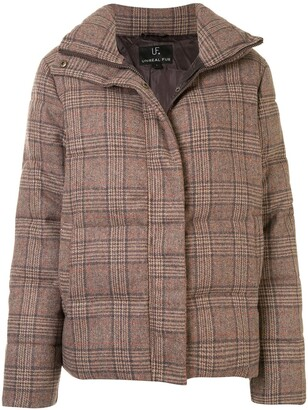 Unreal Fur Checked Puffer Jacket
