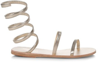 Ancient Greek Sandals Ofis Wraparound Ankle-Strap Metallic Leather Sandals