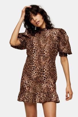 Topshop Leopard Print Puff Sleeve Mini Dress