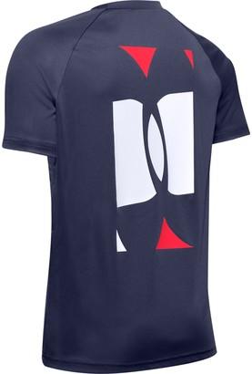 Under Armour Boys' UA Tech Color Blocked Logo Short Sleeve