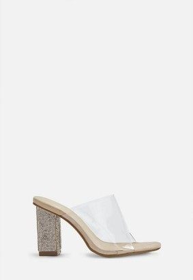 Missguided Nude Diamante Heel Clear Strap Mules