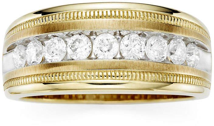 JCPenney MODERN BRIDE Mens 1 CT. T.W. Diamond 10K Yellow Gold Milgrain Ring