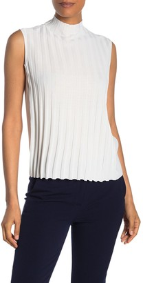 Vince Mock Neck Ribbed Sleeveless Top