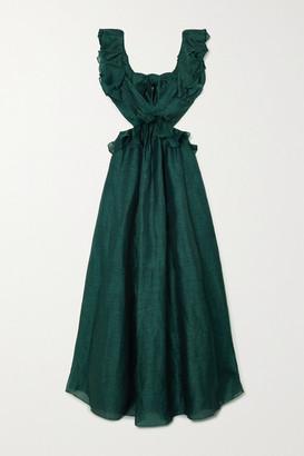 Zimmermann Ladybeetle Bow-detailed Ruffled Linen And Silk-blend Gown - Blue