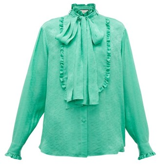 Gucci Ruffled Floral-jacquard Silk Pussybow Blouse - Womens - Green