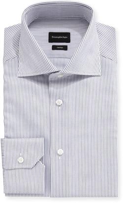 Ermenegildo Zegna Men's Trofeo Narrow-Stripe Cotton Trim-Fit Dress Shirt
