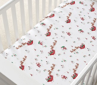 Pottery Barn Kids Flannel Santas Sleigh Glow-in-the-Dark Fitted Crib Sheet
