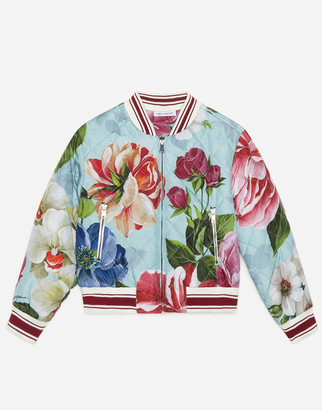 Dolce & Gabbana Nylon Bomber Jacket With Floral Print And Light Blue Bottom
