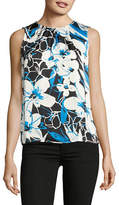 Kasper Suits Abstract Floral Pleated Keyhole Shell Top