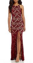 B. Darlin Two-Tone Lace Long Dress