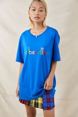 Benetton Blue Logo T-Shirt - Blue XS at Urban Outfitters