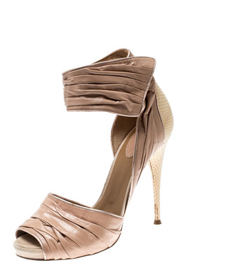 Chloé Beige Leather Ankle Cuff Sandals Size 39.5