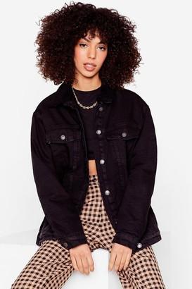 Nasty Gal Womens We Feel Ya Faux Shearling Denim Jacket - Black - 4, Black