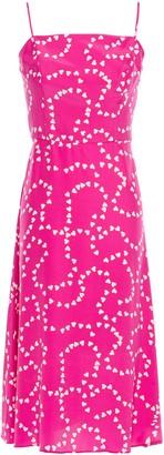 HVN Nora Bias Printed Silk Crepe De Chine Dress
