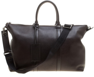 Prada Dark Brown Leather Luggage Weekender Bag