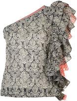 Rosie Assoulin ruffled one-shoulder floral top - women - Cotton/Rayon - XS