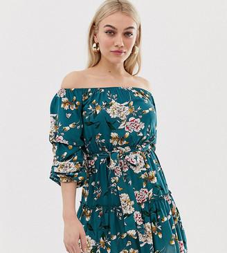 Parisian Petite off shoulder floral print dress with self tie belt-Blue
