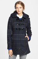 GUESS Plaid Toggle Front Coat with Removable Hood (Regular & Petite)