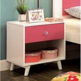 Frew 1 Drawer Nightstand Red Barrel Studio Color: Pink/White