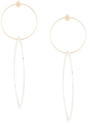 Natalie Marie 9kt yellow gold extra large loop through silver marquise hoops