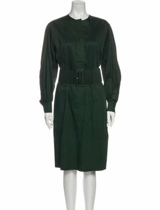 Celine Crew Neck Midi Length Dress Green