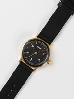 Nixon Mens The Stark Leather Band Watch in Black & Gold