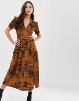 Asos Design DESIGN animal print midi tea dress