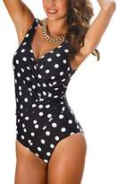 GWELL Womens Plus Size Polka Dot One Piece Swimsuit Swimwear Monokini