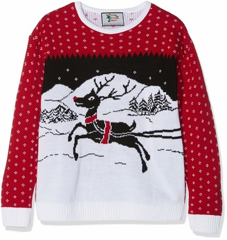 British Christmas Jumpers Kid's Festive Christmas Jumper Red Years (Size: 9-10)