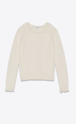 Saint Laurent Destroyed Knit Sweater Natural M